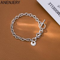 ANENJERY Vintage Love Heart Tie Bracelet For Men Women Round Card OT Button Bracelet Couple Jewelry S-B383