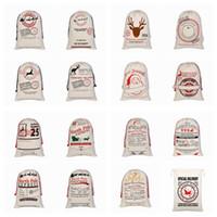 حقائب عيد الميلاد سانتا أكياس قماش قطن كبيرة حقائب العضوية الثقيلة الرباط هدية شخصية مهرجان حفلة عيد الميلاد الديكور