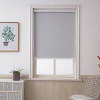 Gardin draperier anpassad storlek grå blackout rullgardiner borrsystem kontor kök säng rum halv eller full skugga kvalitet fönster persienner1