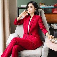 Frauenanzüge Blazers Hose Frauen Plaid Anzug Blazer Weibliche Formelle Büroarbeit Uniform Set Plus Größe Frau Dame Jacke1
