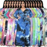 플러스 사이즈 여성 드레스 그라디언트 컬러 넥타이 염료 맥시 드레스 V 넥 스트라이프 SACH 긴 드레스 비치 보헤미안 드레스 파티 E122408