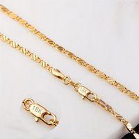 2 мм плоские цепи Мода роскошные женские ювелирные изделия 18K позолоченное ожерелье цепи мужские 925 посеребренные цепи ожерелья подарки DIY аксессуары