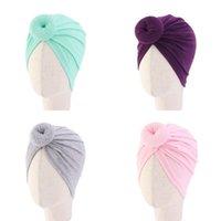 18 Renkler Sevimli Bebek Yürüyor Unisex Topu Düğüm Hint Türban Kap Çocuk Bahar Sonbahar Kapaklar Bebek Çörek Şapka Katı Renk Pamuk Hairband 356 J2