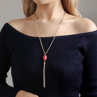 double side acrylic pendant necklace temperament jewelry costume sweater chain necklace