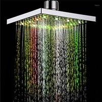 1PC 샤워 헤드 스퀘어 헤드 라이트 빗물 26 홈 욕실 LED 자동 변화 샤워 7 색 APR121에 대 한 7 색