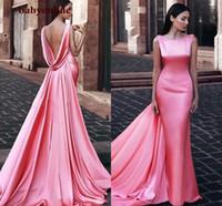 Sirena Vestidos de noche formales 2021 Scoop Backless Middle East Womanos Vestidos de noche con envolturas Sandía Pink Cena Vestidos