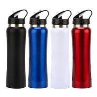 Botella de agua de acero inoxidable Botella de agua Hebilla Hervidor de vacío Al aire libre Viaje Aislado Refrigerador Taza de beber Taza con tapa de paja ZWL374