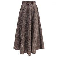 Jupes Néophil 2021 Winter Femmes Papier Laine Midi Plaqué Sashes plissées Angleterre Vintage Vintage Vintage A-ligne Jupe Faldas Mujer Moda S99321