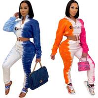 Designer Tie Dye Impresso Treino Mulheres Zipper Neck Colarinho alto calças compridas Sweatpants Outfit Ladies duas peças Pants Streetwear D102601