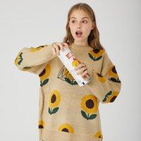 Suéter mujer streetwear floral patrón jersey hombre mujer 2020 otoño invierno cálido hop lúpulo suelto coreano suéteres jersey