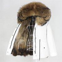 OFTBUY Su Geçirmez Parka Gerçek Fox Kürk Doğal Rakun Kürk Yaka Hood Kış Ceket Kadınlar Sıcak Giyim Çıkarılabilir Yeni 201225