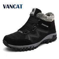 VANCAT Erkekler Botlar Kış Kürk Ile Sıcak Kar Botları Erkekler Kış Çizmeler Çalışma Ayakkabıları Erkekler Ayakkabı Moda Kauçuk Ayak Bileği Ayakkabı 39-46 201204