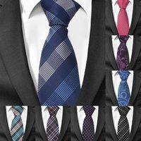 Mode Skinny Cravates pour hommes Costumes Plaid Casual Tie Gravatas bleu hommes Cravates pour les affaires de mariage 6cm Largeur Slim Homme Cravates