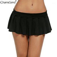 Летняя твердая плиссированная юбка женская мода простая юбка сексуальный клуб с низкой талией плиссированные короткие мини-юбки Faldas Mujer Moda 2020 New1