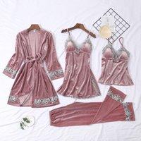 2021 Nouvelles chemises de nuit Robe Robe Femmes Velours Femme Sois de suspension à manches longues avec soutien-gorge Lingerie SilknightDress noir Sexy Dentelle Pyjamas