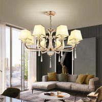 الصمام السقف الثريا الإضاءة الحديثة الذهبي مصباح فاخر كريستال لغرفة المعيشة غرفة نوم 220 فولت النسيج عاكس الضوء مصباح شنقا