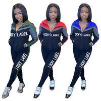 Frauen Designer Kleidung Lucky Etikett Brief Vollfarbe Mit Kapuze Langarm Reißverschluss Jacke Hosen Leggings Sportanzug Zwei Stück Outfits D102803