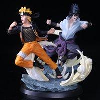 26 cm hete anime Naruto Sculptuur Naruto vs Sasuke PVC Action Figure Collectible Boxed Handgemaakt Model Speelgoed Gift voor kinderen Q0522