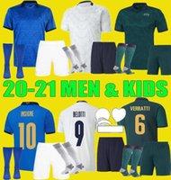 20 21 이탈리아 홈 축구 유니폼 남자 키즈 키트 2020 2021 Italia Maglie Da Calcio Verratti Jorginho Romagnoli immobile 축구 셔츠 세트