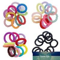 Nuevo 10 unids / lote Banda de goma Headwear Cuerda Forma Espiral Forma Elástica Bandas Elásticas Accesorios para niñas Ties Gum Gum Telefone