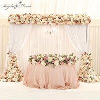1M / 2 M decoración artificial de la fila de la flor de lujo para la fiesta de la boda de la fiesta de la boda del fondo de la carretera citada flor rosa peonía hidangea mezcla T200103