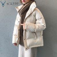 Autumn Winter Jacket Women Parkas HXJJP Fashion Coat Loose Stand Collar Jacket Women Parka Warm Casual Plus Size Overcoat 201016