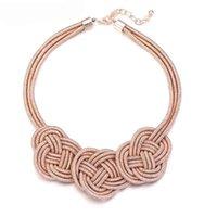 Vit glädjande moln knut krage bib uttalande halsband för flickor etnisk stil rep halsband för kvinnor smycken