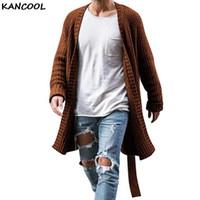 KANCOOL Hombres Abrigo de punto Otoño 2020 hombres con estilo Cardigan suéter de punto de Streetwear sólido ocasional de la manga larga delgada Outwear 1114