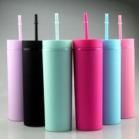 6 couleurs mate acrylique gobelets avec couvercles paillettes colorées bouteilles d'eau de sport en plastique double mur double mur d'eau A12