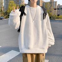 Hombres sudadera otoño invierno más terciopelo espesado abrigo de doble cara cordero terciopelo o cuello jersey suelto cálido cálido sólido tops sólidos