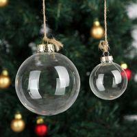 8 cm Düğün Bauble Süsler Noel Noel Cam Toplar Dekorasyon Noel Toplar Temizle Cam Düğün topları Noel Süsler HH9-3531
