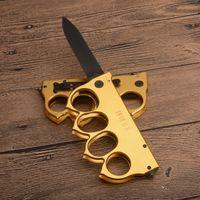 US1918 Knuckle Survival Folding Blade Faca 440C Black Drop Point Lâminas Liga de alumínio Liga Tactical Facas com caixa de varejo