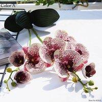 럭셔리 라텍스 난초 나뭇잎 인공 꽃 흰색 나비 난초 가짜 꽃 집 웨딩 장식 flores1