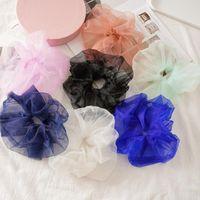 Аксессуары для волос Candy Color Color Organza Scrunchies Headwear Tie Emastic Pontail Bands Негабаритные кольца Тонкая сетка