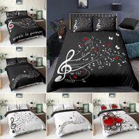 3D Digital Duvet Funda Música Nota Música Impresa Conjunto de ropa de cama de Beating Edred Cover Kids Adult Ropa de cama Conjunto para invierno EE. UU. / EU / AU Tamaño Decoración del hogar