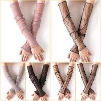 خمسة أصابع قفازات الحرير شبكة كم طويل نصف الاصبع رقيقة جدا تنفس الإناث واقية من الشمس وهمية الأكمام ندبة الوشم ركوب الذراع غطاء