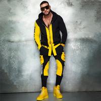 2 Stück Herren Gym Kleidung Casual Trainingsanzug Sport Männer Sets Hip Hop Ropa Hombre Set Männer Reißverschluss Jacker + Bleistift Hosen Streetwear
