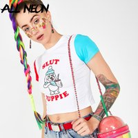 ALLNeon Harajuku court T-shirts Cartoon Imprimer Patchwork manches courtes T-shirt court Mode Tops été Y2K Tenues Streetwear 2020