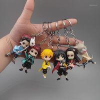 Keychains Demon Slayer Nezuko Zenitsu Tanjirou Giyuu Inosuke Q Ver Figurines Toys KIMETSU No Yaiba Anime PVC Figurine Toy Keychain1