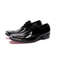 الفاخرة الأحذية الإيطالية الرجال الجلود المتسكعون الصلب تو المعدنية أحذية رجالي عالية الكعب الأفعى الجلد اللباس الزفاف الأحذية الرسمية