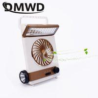 DMWD Mini Camping portátil LED LED Solar Energía Luz de Luz Recargable Aire Eléctrico Fans de Emergencia Outdoor Cooler