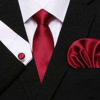أحمر رجال التعادل الظلام مخططة 100٪ الحرير كلاسيكي جاكار نسج جديدة العلامة التجارية التعادل المنديل زر الكم مجموعة للرجال حفل زفاف رسمي