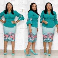 Outono escritório senhora rosa festa doce vintage elegante mulheres midi vestidos bodycon Falbala cinto impressão africano retro moda vestido1