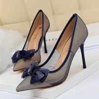 Bigtree mulheres bombas bowknot salto alto sapato vestido festa de salto fino sapatos oco apontou stiletto elegante malha oco sapatos femininos1