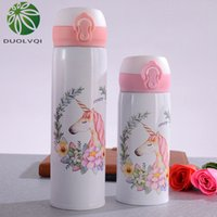Duolvqi Cute Unicorn Vacuum Flasks Bouncing Lid Vacuum Cup Stainless Steel Thermal Insulation Water Bottle Portable Drinkware 201109
