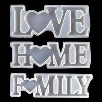 Moules de résine époxy en silicone Love Accueil Famille Alphabet Letter Moules DIY Table Decoration Art Artisanat Moules