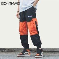 Гондид боковой ленты пряжки карманы цветные блок лоскутный гарем пробежки брюки брюки хип-хоп повседневная уличная одеяла брюки брюки потрясающие вещества 201112