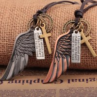 Men's necklace angel pendant necklace Europe and the United States hot leather personality men's fashion jewelry