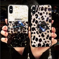 Funda de perforación de brillo de brillo 3D de leopardo para iPhone 6 7 8 Plus x xr xs max