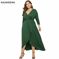 Kaunissina Plus Taille Taille Robe de fête Femmes Manches longues Solide Cocktail Robes Long Col V Homécoming Robe Formelle Robe Cocktail